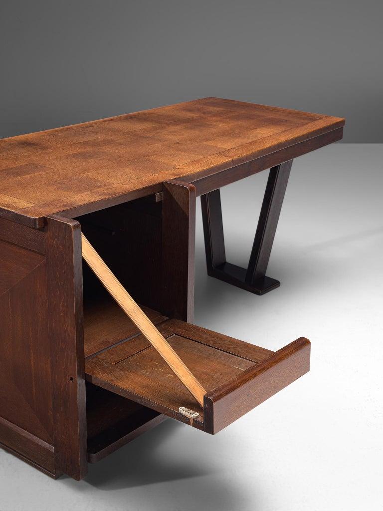 Guillerme et Chambron Dark Stained Oak Desk