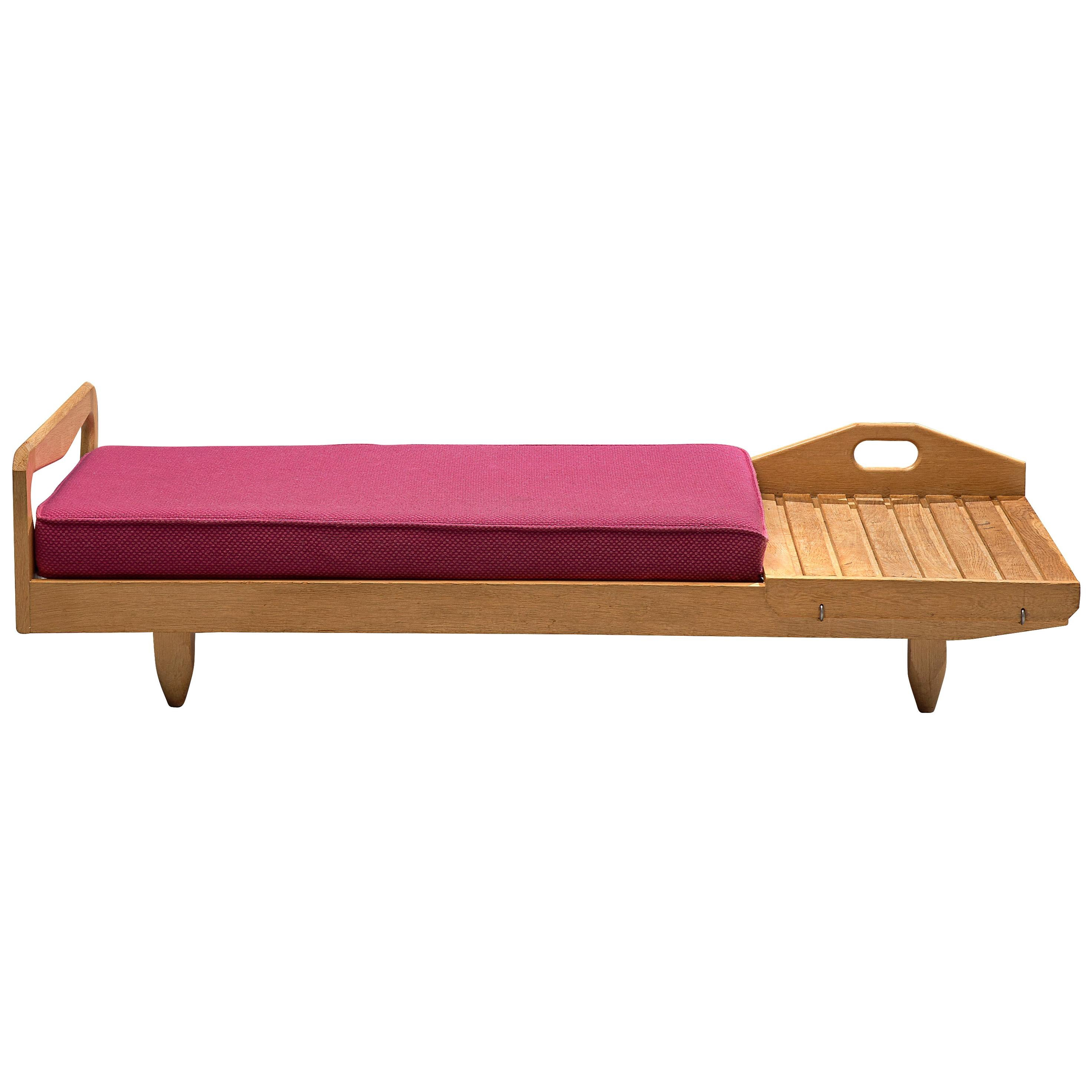 Guillerme et Chambron Daybed or Bench with Side Table in Oak and Fabric