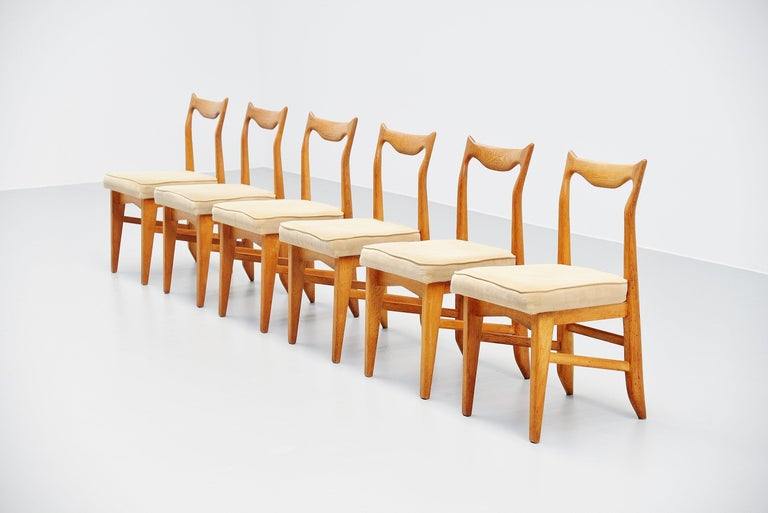 Mid-Century Modern Guillerme et Chambron Dining Chairs, France, 1965 For Sale