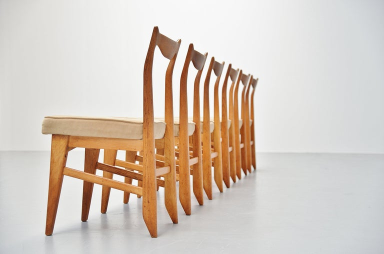French Guillerme et Chambron Dining Chairs, France, 1965 For Sale