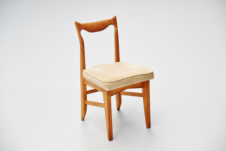 Upholstery Guillerme et Chambron Dining Chairs, France, 1965 For Sale