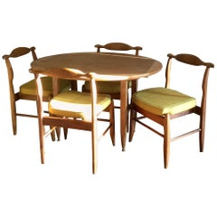 "Guillerme et Chambron Dining Table and 4 Chairs ""Fumay"" France 1960s"