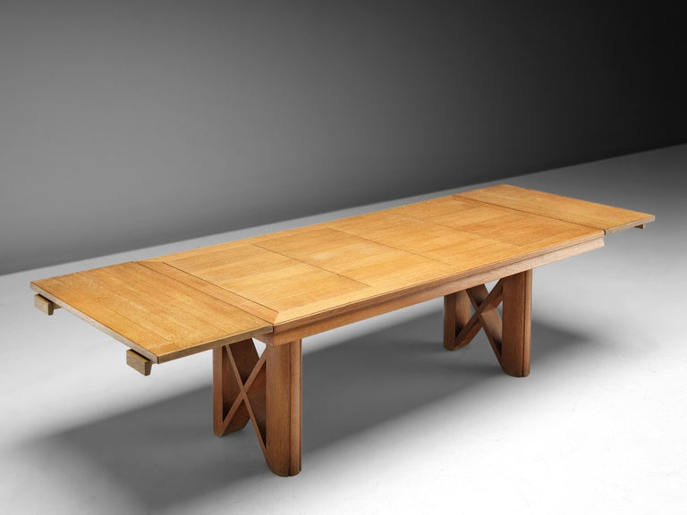 Guillerme et Chambron Extendable Dining Table in Oak For Sale 8