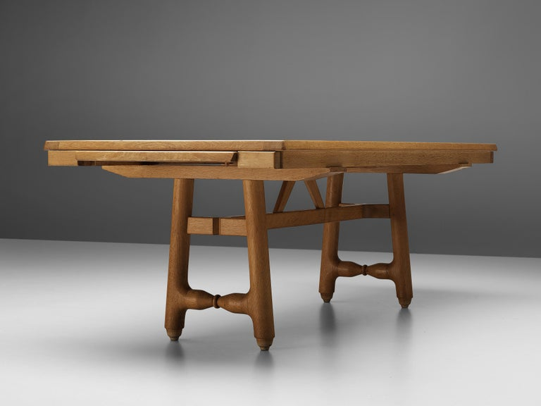 European Guillerme et Chambron Extendable Dining Table in Oak For Sale