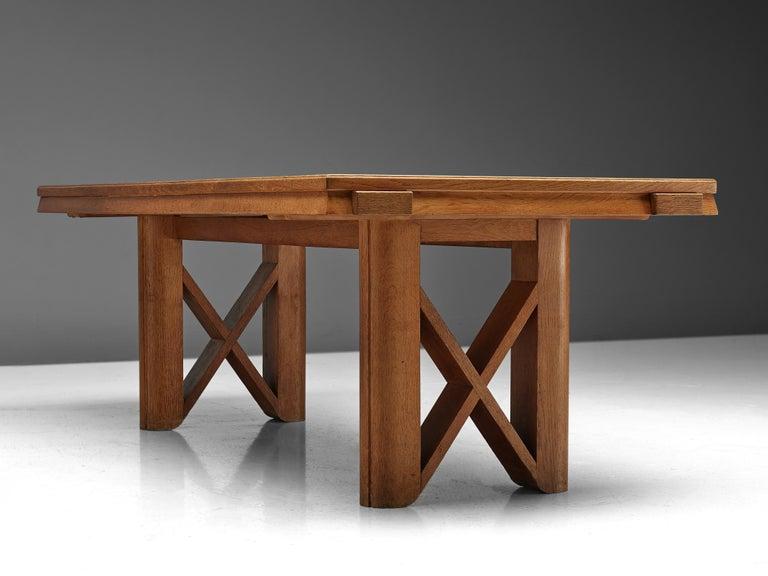 European Guillerme et Chambron Extendable Dining Table in Oak For Sale