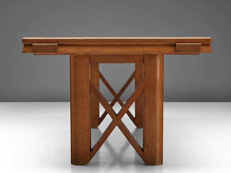 Guillerme et Chambron Extendable Dining Table in Oak For Sale 2