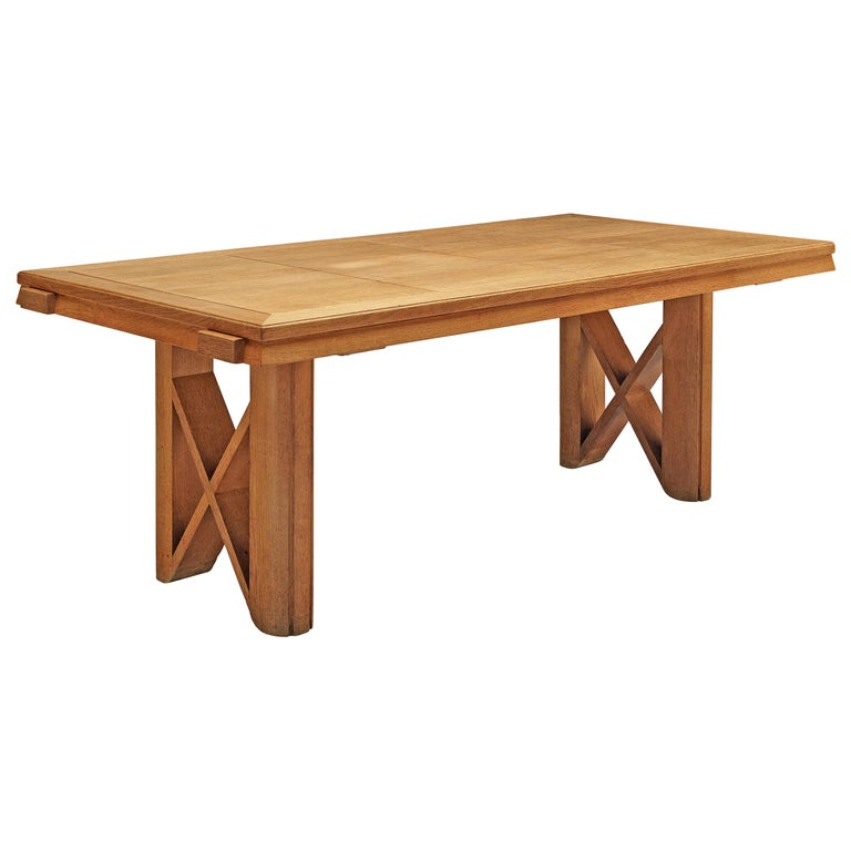 Guillerme et Chambron Extendable Dining Table in Oak For Sale