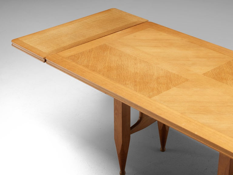 Mid-Century Modern Guillerme et Chambron Extendable Dining Table in Solid Oak For Sale