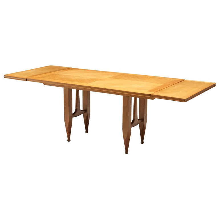 Guillerme et Chambron Extendable Dining Table in Solid Oak For Sale