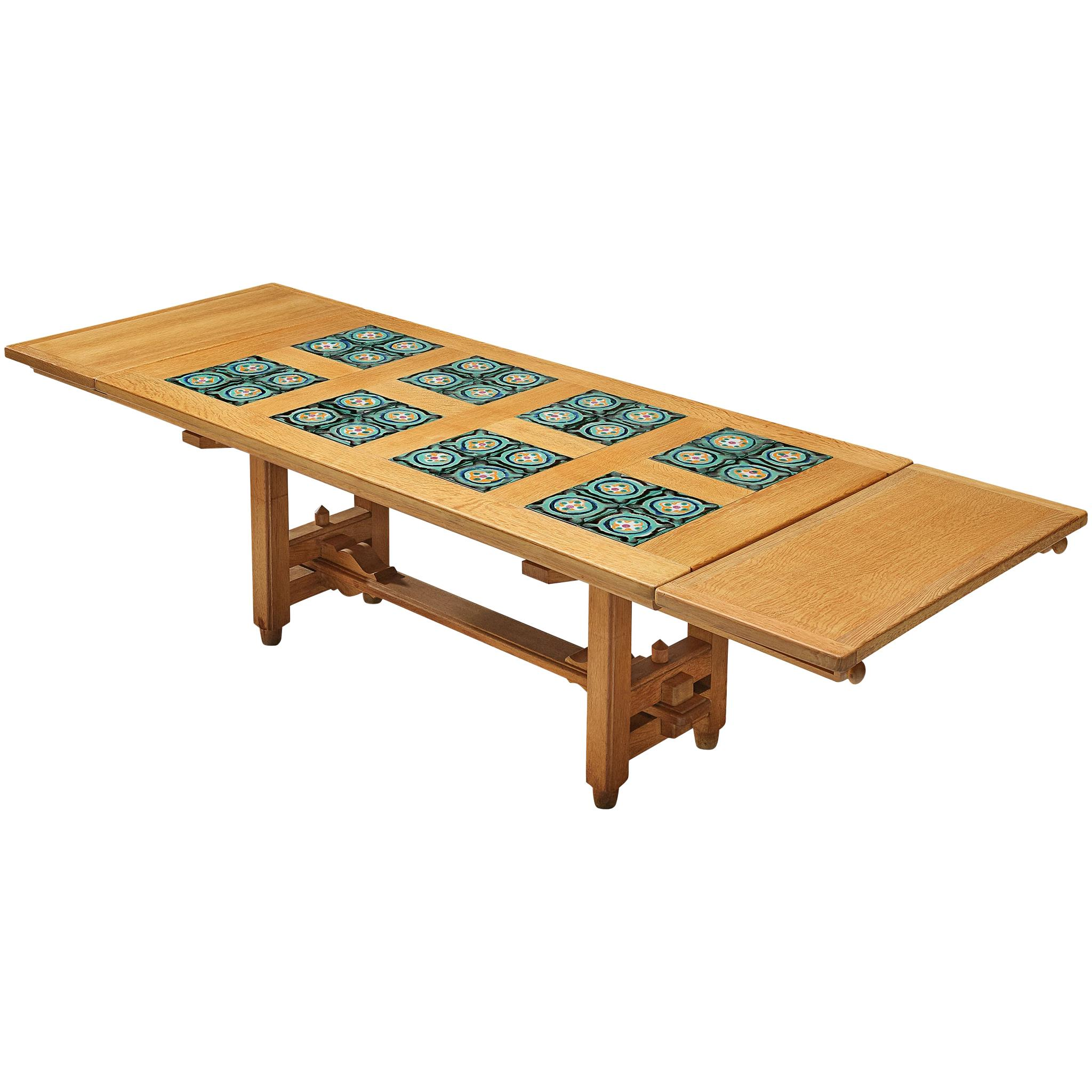Guillerme et Chambron Extendable Dining Table with Ceramics