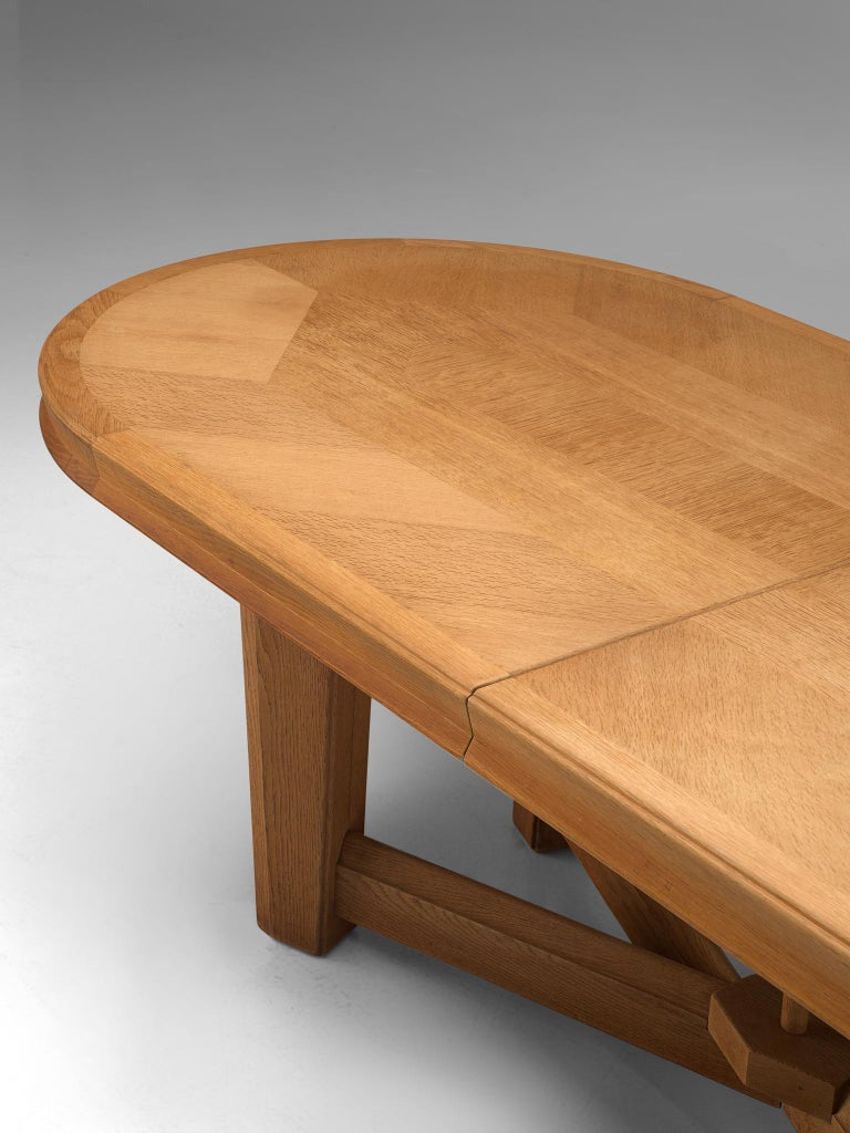 Guillerme et Chambron Extendable Oval Dining Table in Oak For Sale 2