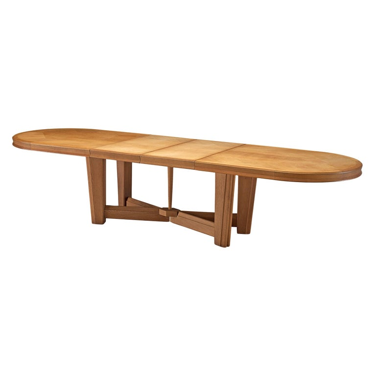 Guillerme et Chambron Extendable Oval Dining Table in Oak For Sale