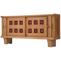 Guillerme et Chambron for Votre Maison, Credenza in Oak and Ceramic