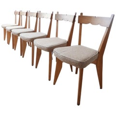 Guillerme et Chambron French Midcentury Oak Dining Chairs '6'