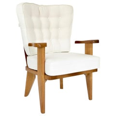 Guillerme et Chambron French Natural Oak and White Linen Lounge or Side Chair