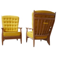 Guillerme et Chambron French Oak Midcentury Armchairs