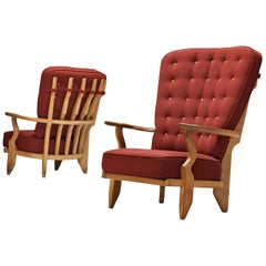 Guillerme et Chambron Grand Repos and Mid Repos Lounge Chairs in Red Upholstery