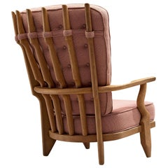 Guillerme et Chambron 'Grand Repos' Lounge Chair in Pink Fabric