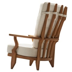 Guillerme et Chambron 'Grand Repos' Reupholstered Pierre Frey Lounge Chair
