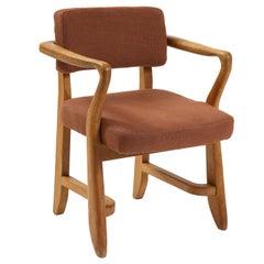 "Guillerme et Chambron Linen-Upholstered Oak ""Bridge"" Chair, France, c. 1970s"