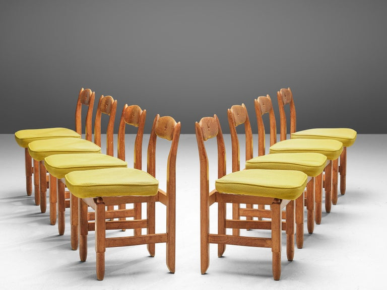 Guillerme and Chambron, set of 8 dining chairs, fabric, solid oak, France, 1960s.