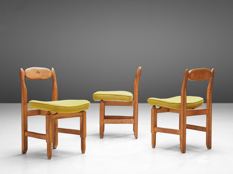 French Guillerme et Chambron 'Lorraine' Chairs in Oak For Sale