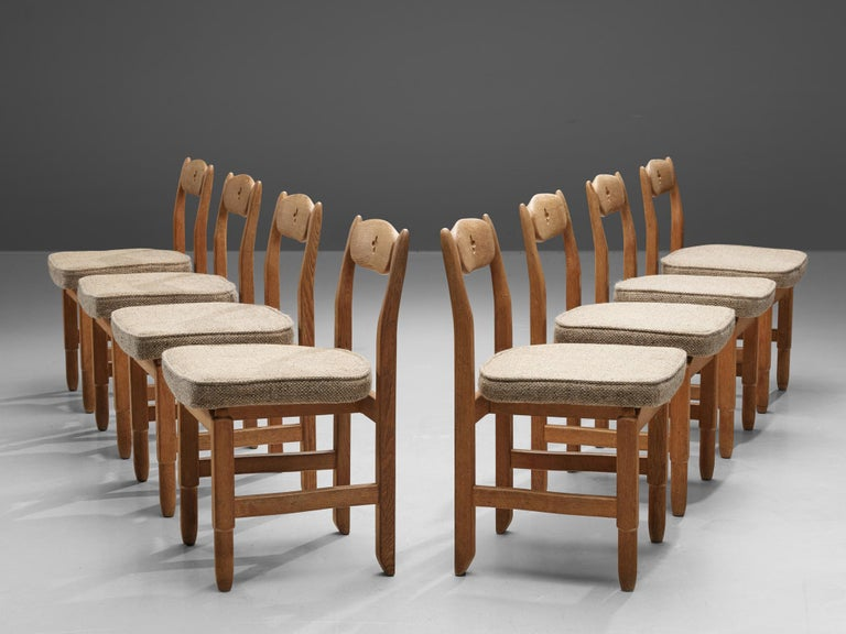 Mid-20th Century Guillerme et Chambron 'Lorraine' Chairs in Oak For Sale
