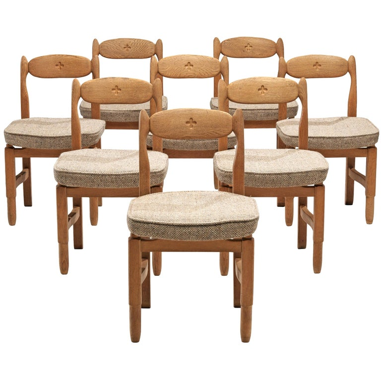 Guillerme et Chambron 'Lorraine' Chairs in Oak For Sale