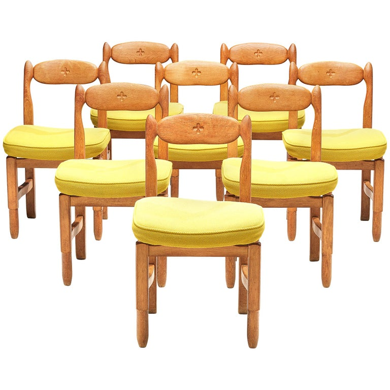 Guillerme et Chambron 'Lorraine' Chairs in Oak For Sale