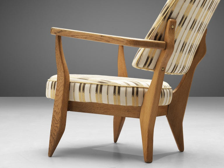 Mid-Century Modern Guillerme et Chambron Lounge Chair in Oak with Patterned Upholstery