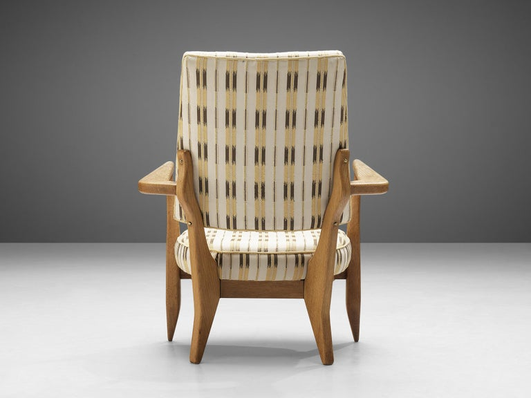 French Guillerme et Chambron Lounge Chair in Oak with Patterned Upholstery