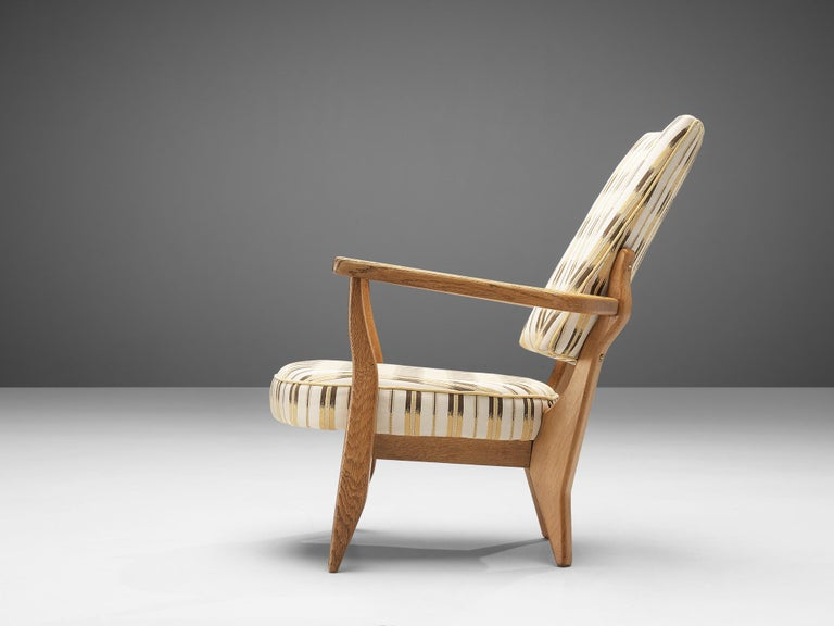 Mid-20th Century Guillerme et Chambron Lounge Chair in Oak with Patterned Upholstery