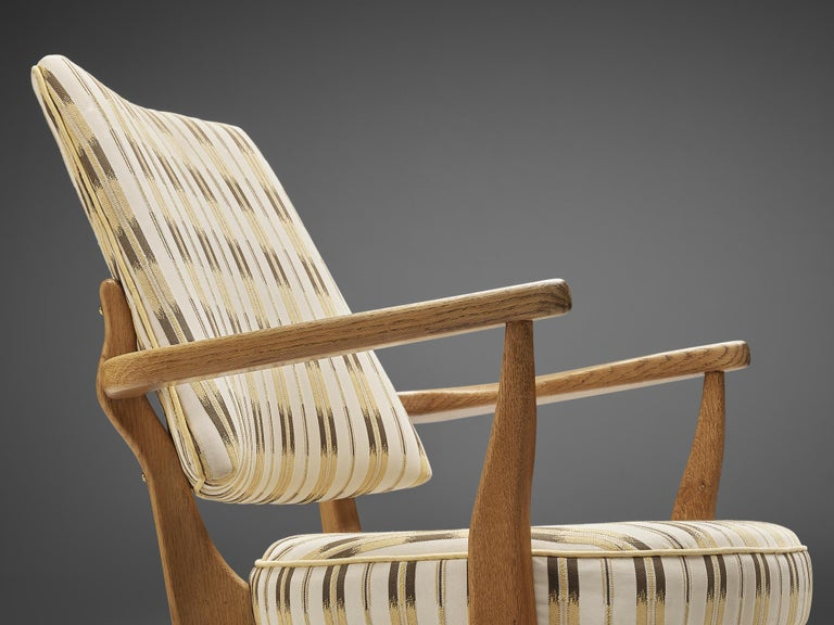 Fabric Guillerme et Chambron Lounge Chair in Oak with Patterned Upholstery