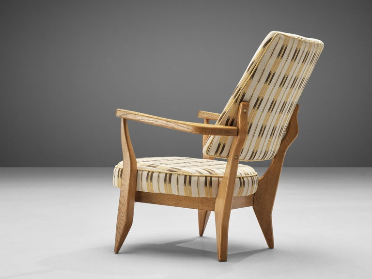 Guillerme et Chambron Lounge Chair in Oak with Patterned Upholstery 1