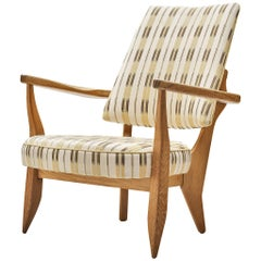 Guillerme et Chambron Lounge Chair in Oak with Patterned Upholstery
