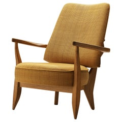 Guillerme et Chambron Lounge Chair in Oak with Yellow Upholstery