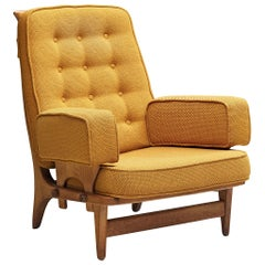 Guillerme et Chambron Lounge Chair 'Maxime' with Yellow Upholstery