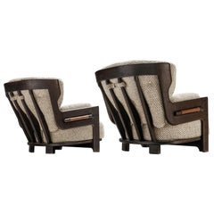 Guillerme et Chambron Lounge Chairs Model 'Denis' with Black Frames