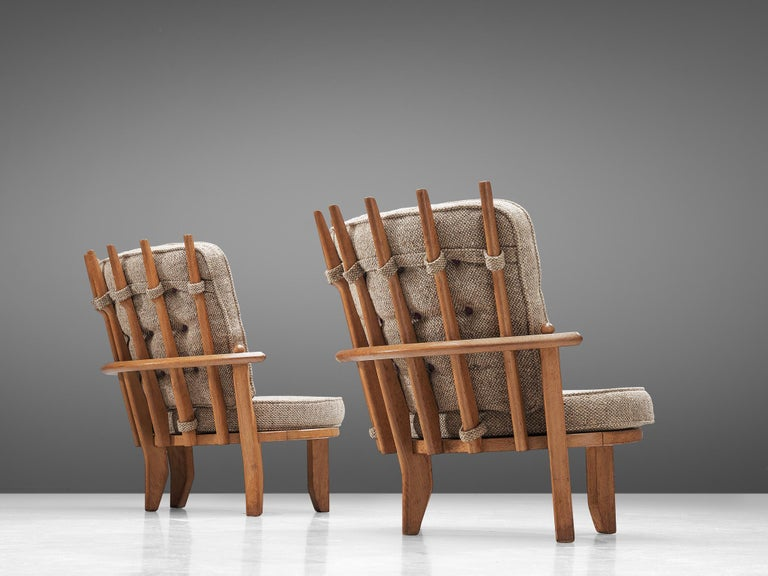 Mid-Century Modern Guillerme et Chambron Pair of Lounge Chairs with Beige Upholstery For Sale