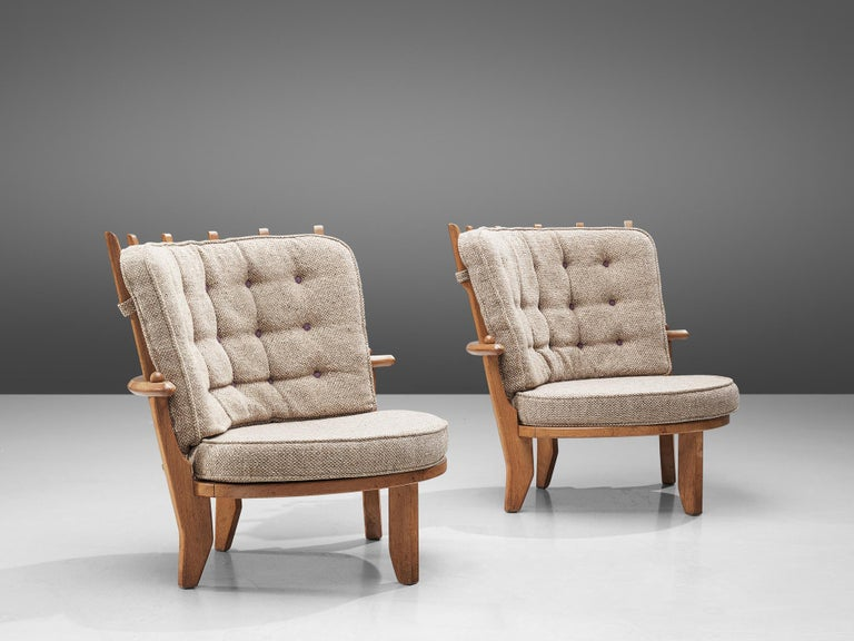 French Guillerme et Chambron Pair of Lounge Chairs with Beige Upholstery For Sale