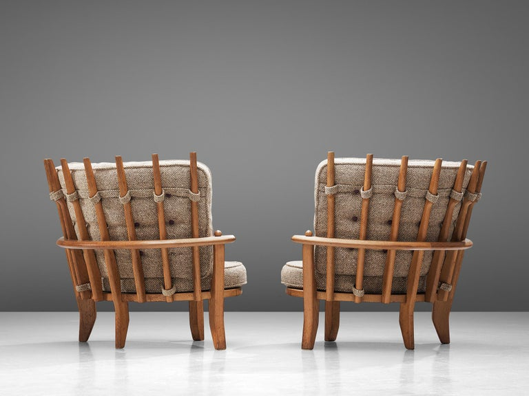Guillerme et Chambron Pair of Lounge Chairs with Beige Upholstery In Good Condition For Sale In Waalwijk, NL