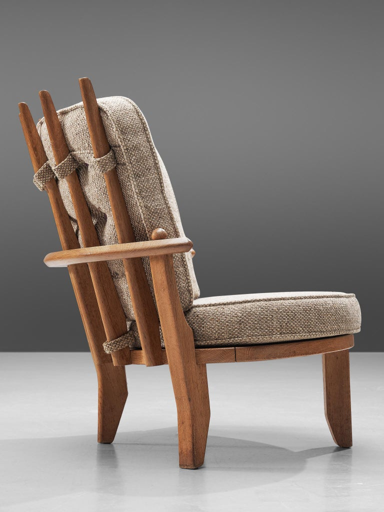 Mid-20th Century Guillerme et Chambron Pair of Lounge Chairs with Beige Upholstery For Sale