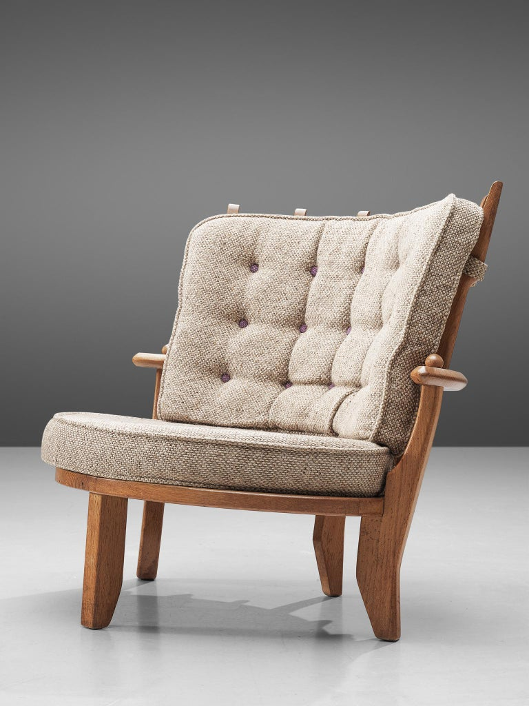 Fabric Guillerme et Chambron Pair of Lounge Chairs with Beige Upholstery For Sale