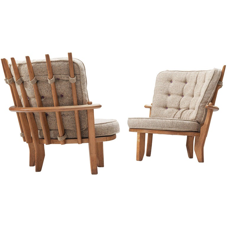Guillerme et Chambron Pair of Lounge Chairs with Beige Upholstery For Sale