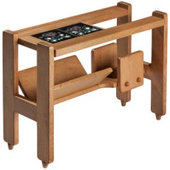 Guillerme et Chambron Magazine Rack in Oak with Ceramic