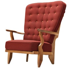 Guillerme et Chambron Mid Repos Lounge Chair in Red Upholstery