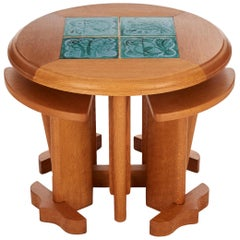 Guillerme et Chambron, Oak & Ceramic Coffee Table, France, circa 1948