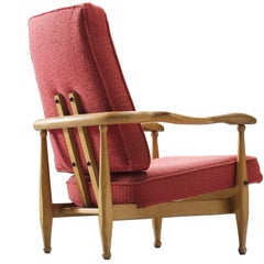 Guillerme et Chambron Oak Lounge Chair with Red Fabric Upholstery