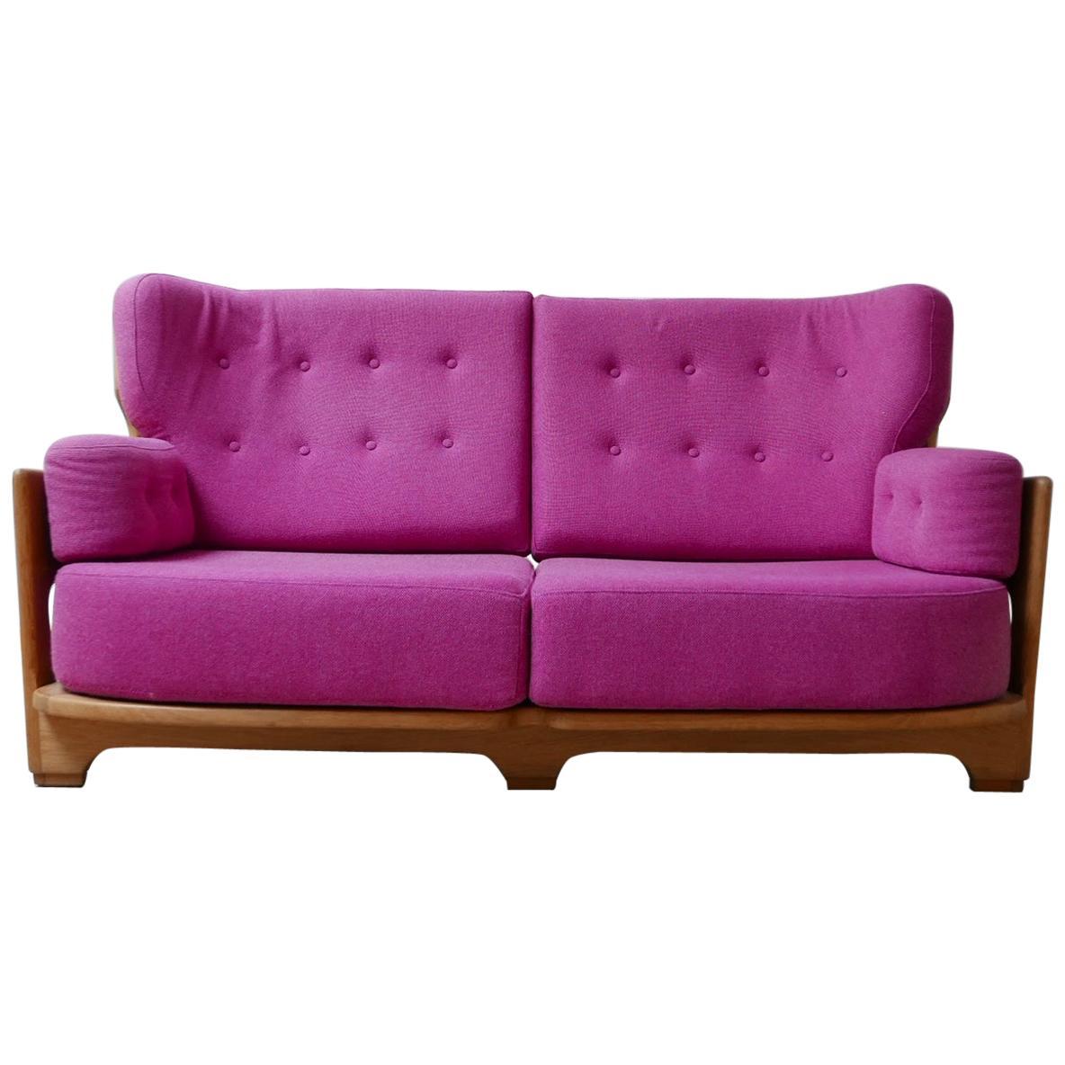 Guillerme et Chambron Oak Midcentury Sofa