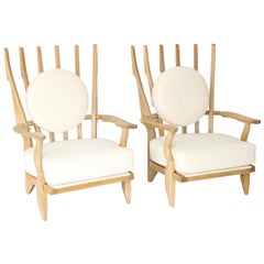Guillerme et Chambron Oak Pair of Grand Repos French Lounge Chairs Votre Maison